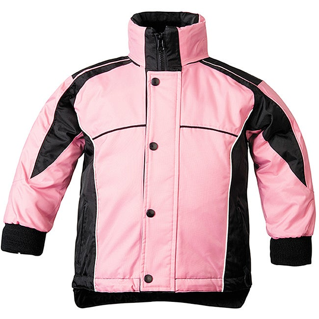 Sledmate Youths' Pink/Black Fleece-lining Drawstring-hem Jacket