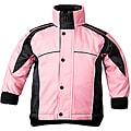 Sledmate Youths' Pink/Black Fleece-lining Drawstring-hem Jacket