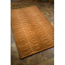 Hand-Tufted Brown Wool Rug (5' x 8')