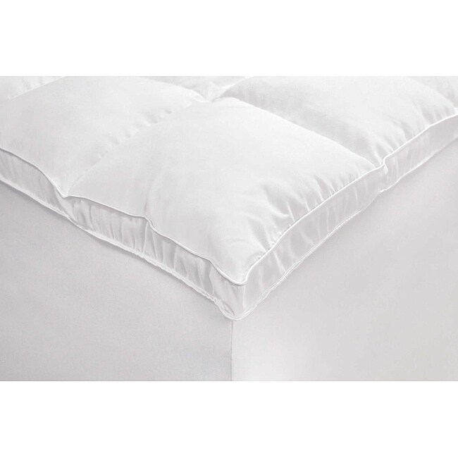 Microfiber Baffled Box Queen/ King/ Cal King-size Fiber Bed Topper with Skirt