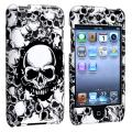 White Skull Snap-on Rubber Coated Case for Apple iPod Touch 4th Gen
