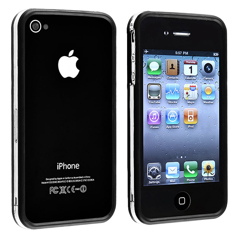 Clear/ Black Bumper TPU Rubber Skin Case for Apple iPhone 4/ 4S