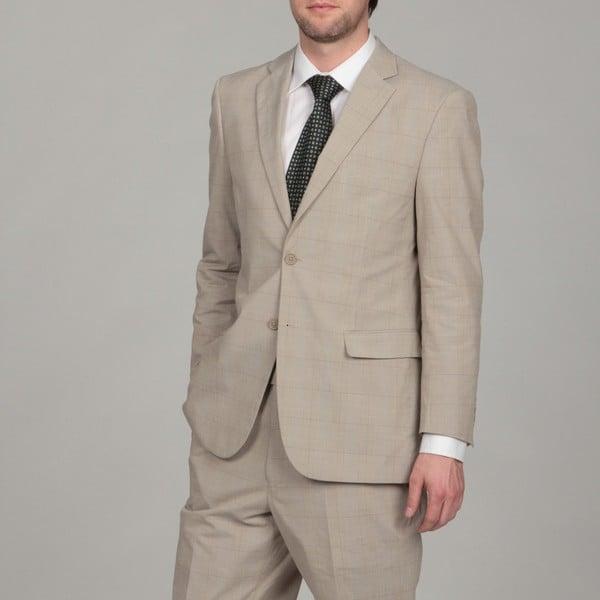 Adolfo Men's Tan Plaid Suit