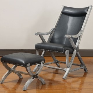 Renate Black Leather Chair and Ottoman Set