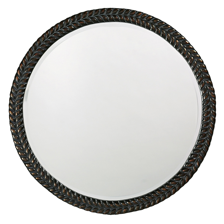 Amalie Black Herringbone Round Mirror 14036534