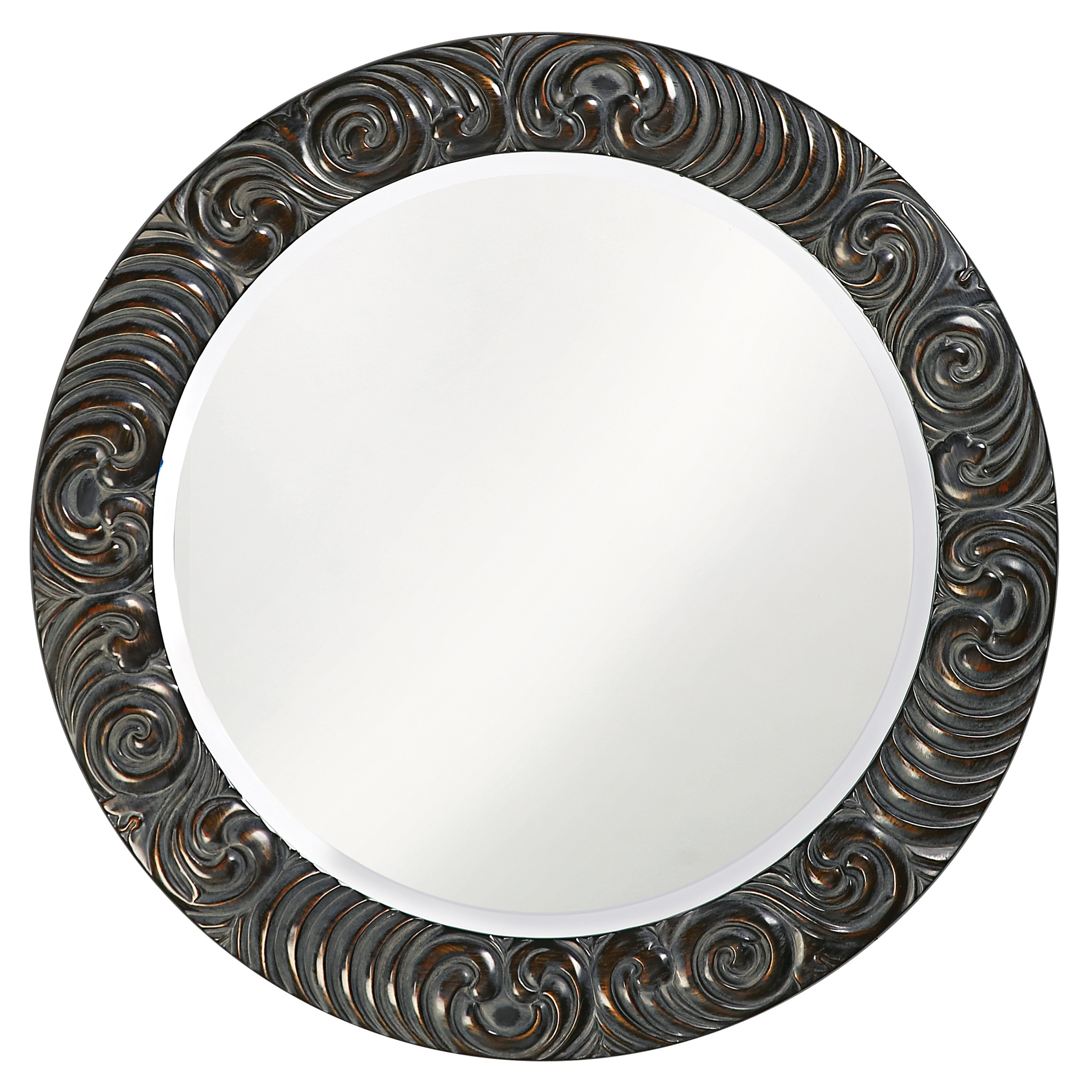 Breanne Black Resin Round Mirror