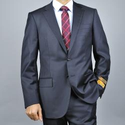Men's Black Wool Slim-fit 2-button Suit