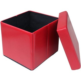 Red Folding Cube Storage Ottoman
