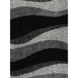 Contemporary Black Shag Rug (6'6 x 9'8)