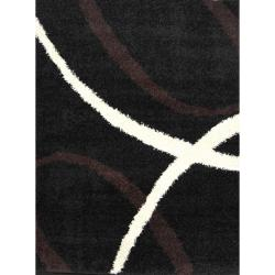 Synergy Black Abstract Rug (4'9 x 6'6)