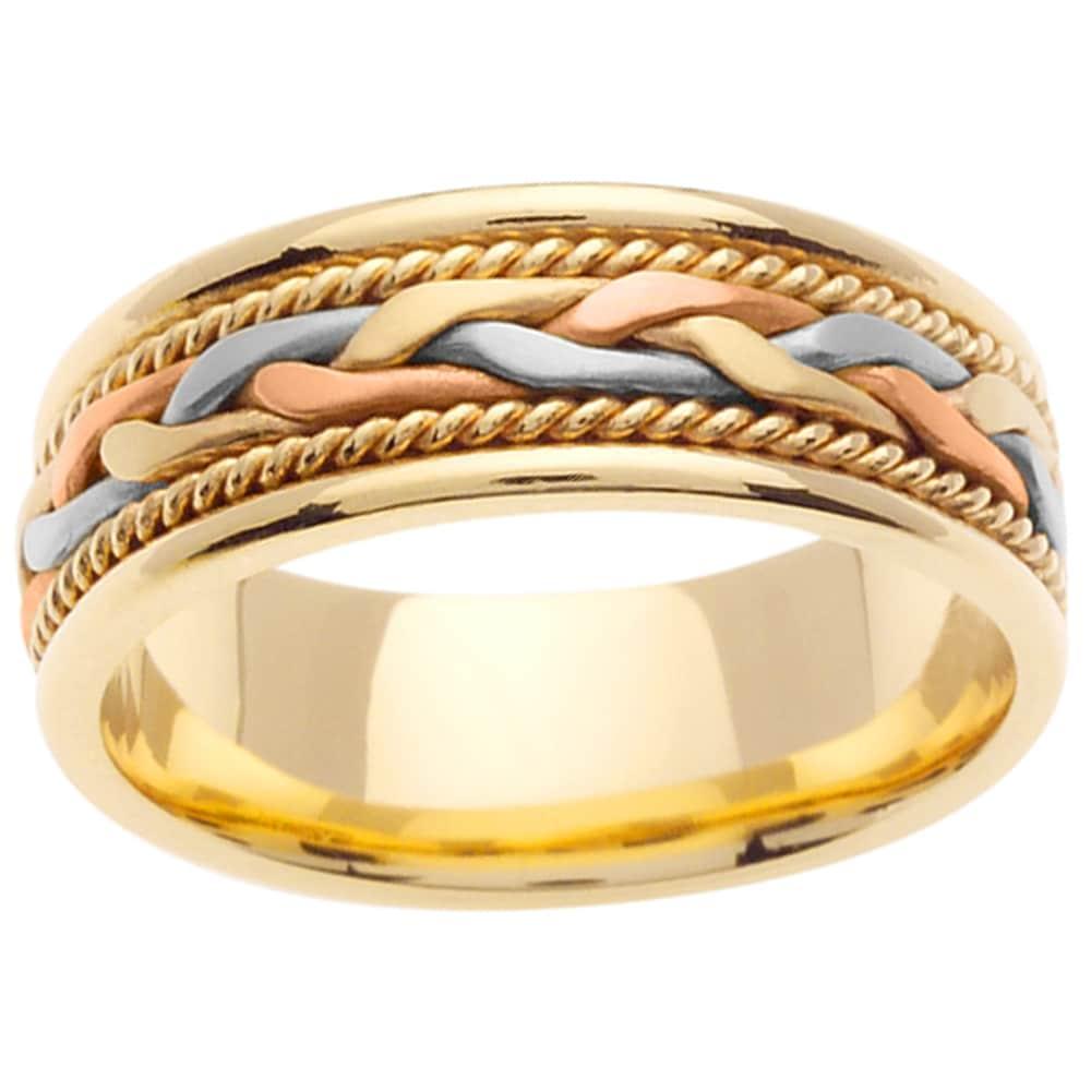 14k Tri Color Gold Men 39 S Wedding Band 14037111 Shopping