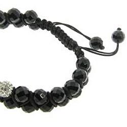 Eternally Haute Black Onyx Gemstone and White Crystal Friendship Macrame Bracelet