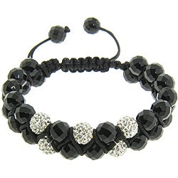 Eternally Haute Black Onyx Gemstone and White Crystal Friendship Macrame Bracelet