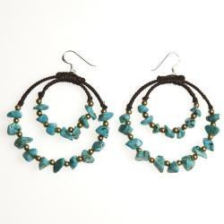 Blue Moon Fantasy Sterling Silver Turquoise Hoop Earrings (Thailand)
