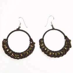 Cotton Rope Gold Moon Crystal Hoop Earrings (Thailand)