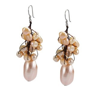 Cluster Peach Pearl Candy Shell Dangle Earrings (Thailand)