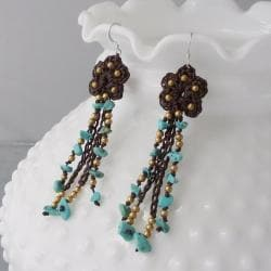 Floral Turquoise Rain Sterling Silver Earrings (Thailand)
