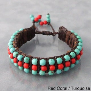 Red Coral or Pearl and Turquoise Leather Bracelet (Thailand)