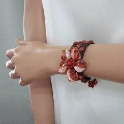 Red Mother of Pearl and Coral Floral Bracelet (Thailand)