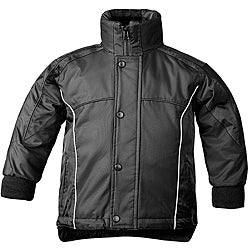 Sledmate Youth Black PU-coated Nylon and Fleece-lined Snowboard Jacket