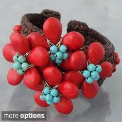 Turquoise and Red Coral Floral Cuff Bracelet (Thailand)