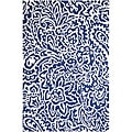 Hand-Hooked Blue/ White Area Rug (7'6 x 9'6)