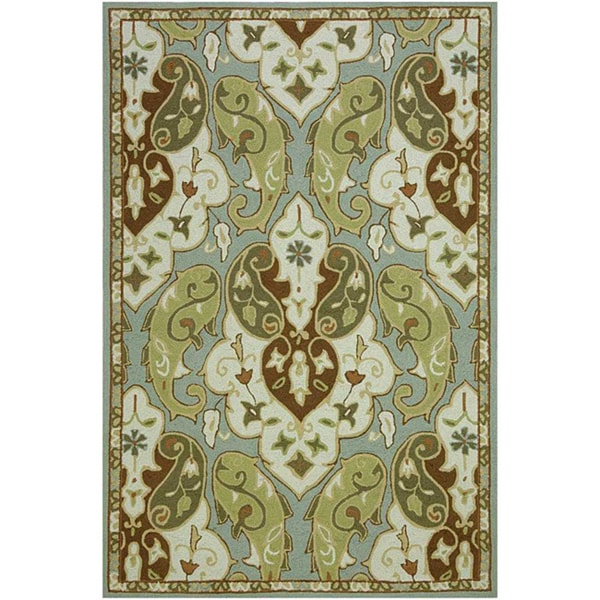 Hand-Hooked Green/ Brown Rug (2' x 3')