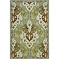 Hand-Hooked Grey/ Green Area Rug (7'6 x 9'6)