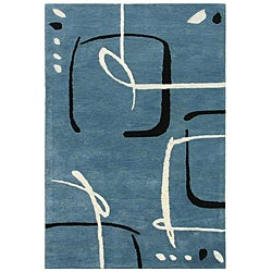 Hand-Tufted Blue Wool Area Rug (9'6 x 13'6)