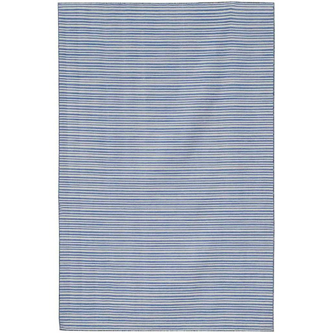 Flat Woven Blue Striped Wool Rug (4' x 6')