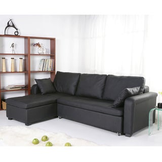 Charlotte Black Faux Leather Convertible Sectional Sofa Bed