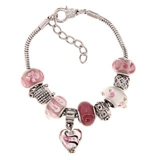 La Preciosa Silverplated Pink and White Glass Bead Charm Pandora-style Bracelet