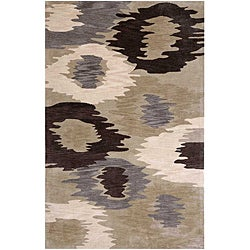 Hand-Tufted Beige Abstract Area Rug (7'6 x 9'6)