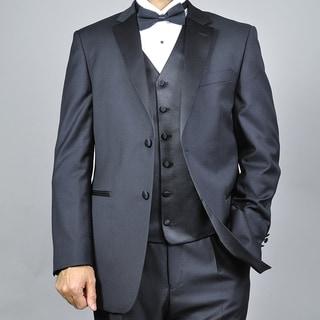 Men's Black 2-button Vested Wool Tuxedo