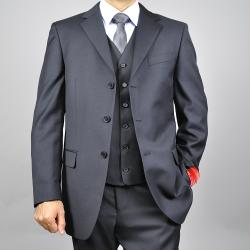 Men's Solid Black 3-button Vested Wool Suit