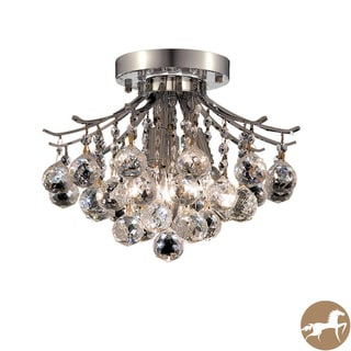 Christopher Knight Home 3-Light Chrome Flush-Mount Crystal Chandelier