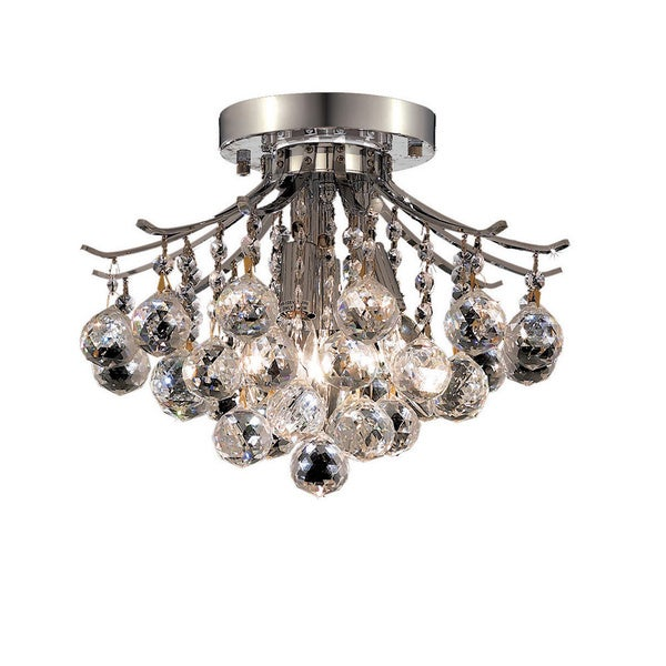 Somette 3-Light Chrome Flush-Mount Crystal Chandelier