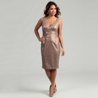 Eliza J Women's Gold Sequined Ruched Dress