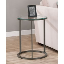 Round Glass Top Metal End Table