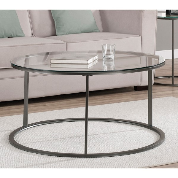 Round Glass Top Metal Coffee Table Overstock Shopping Great Deals On Coffee Sofa End Tables