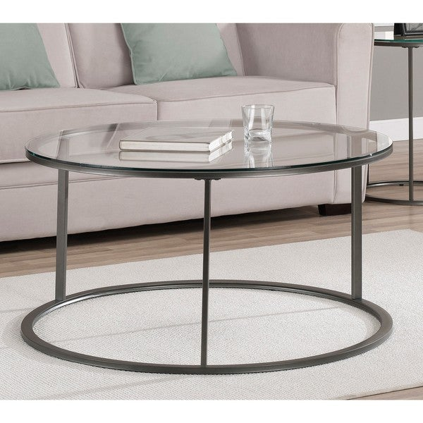 Round glass top metal coffee table overstock shopping great deals on coffee sofa end tables Metal glass top coffee table