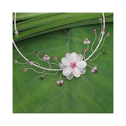Stainless Steel 'Rose Bouquet' Rose Quartz Garnet Necklace (Thailand)