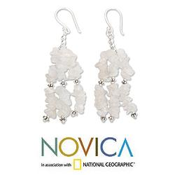 Sterling Silver 'Rejoice' Moonstone Waterfall Earrings (India)