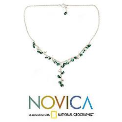 Sterling Silver 'Natural Harmony' Malachite Y Necklace (India)