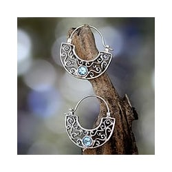 Sterling Silver 'Blue Jasmine' Blue Topaz Hoop Earrings (Indonesia)