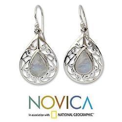Sterling Silver 'Rainbow Teardrops' Moonstone Dangle Earrings (India)