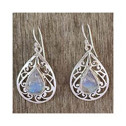 Sterling Silver 'Rainbow Teardrops' Moonstone Dangle Earrings (India)