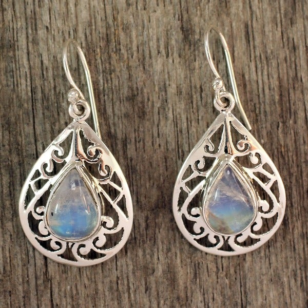Rainbow Teadrops Pear Shape Polished Moonstones with Arabesque 925 Sterling Silver Bohemian Womens Dangle Earrings (India)