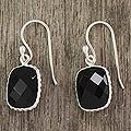 Sterling Silver 'Delhi Darkness' Onyx Dangle Earrings (India)
