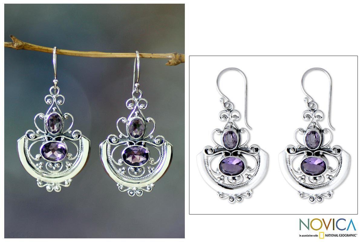 Sterling Silver 'Balinese Goddess' Amethyst Earrings (Indonesia)